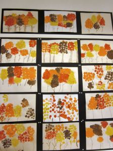 Autumn woods printed with wine bottle corks. Simple, yet elegant!
