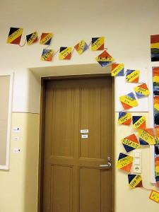 Birthday kites surround the 3rd grade classroom door.