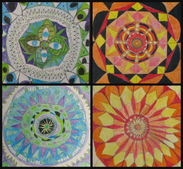 English Class fourth graders created views of what they would see if they looked through a kaleidoscope.