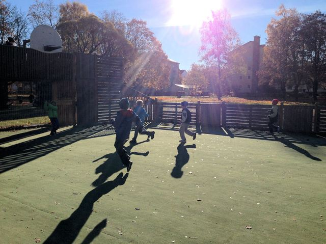 English Class 1st and 2nd graders know that the best way to enjoy perhaps the most beautiful day of Autumn is to play football outside!