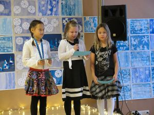 English Class third graders participated in a short presentation about Finnish nation symbols.