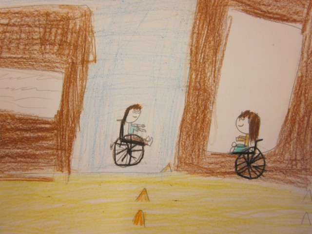 Alisa's drawing of the wheel chair course