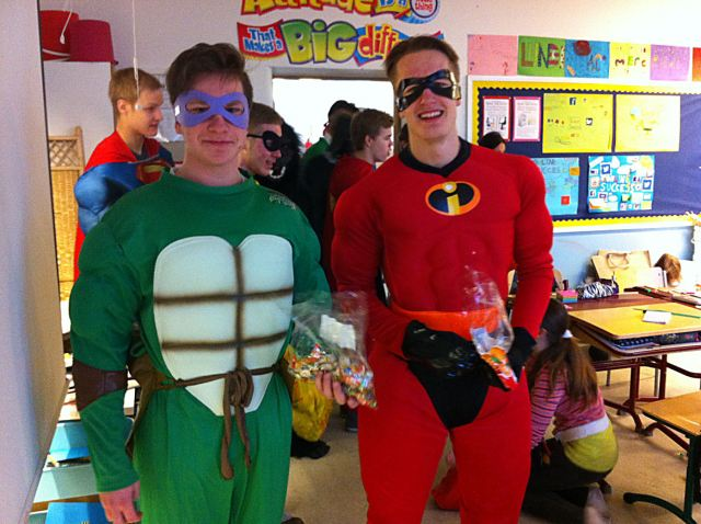 These two handsome superheroes, Petteri and Toni, came looking for Ms. Sylvia. They have both attended our English Classes at Cygnaeus School and wanted to be sure to give her some sweets.