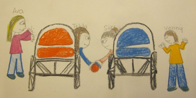 Ava's drawing showing boccia being played