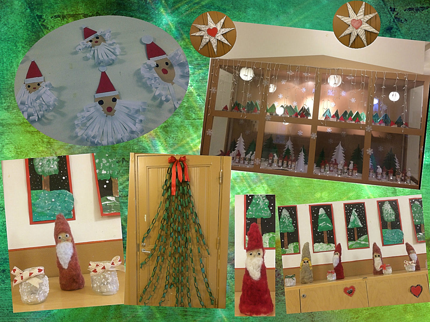 ... Felted Elves Which Are On Display On The Second Floor. Second Graders  Crafted The Wonderful Curly Bearded Santas. Paper Chain Christmas Trees  Decorate ...