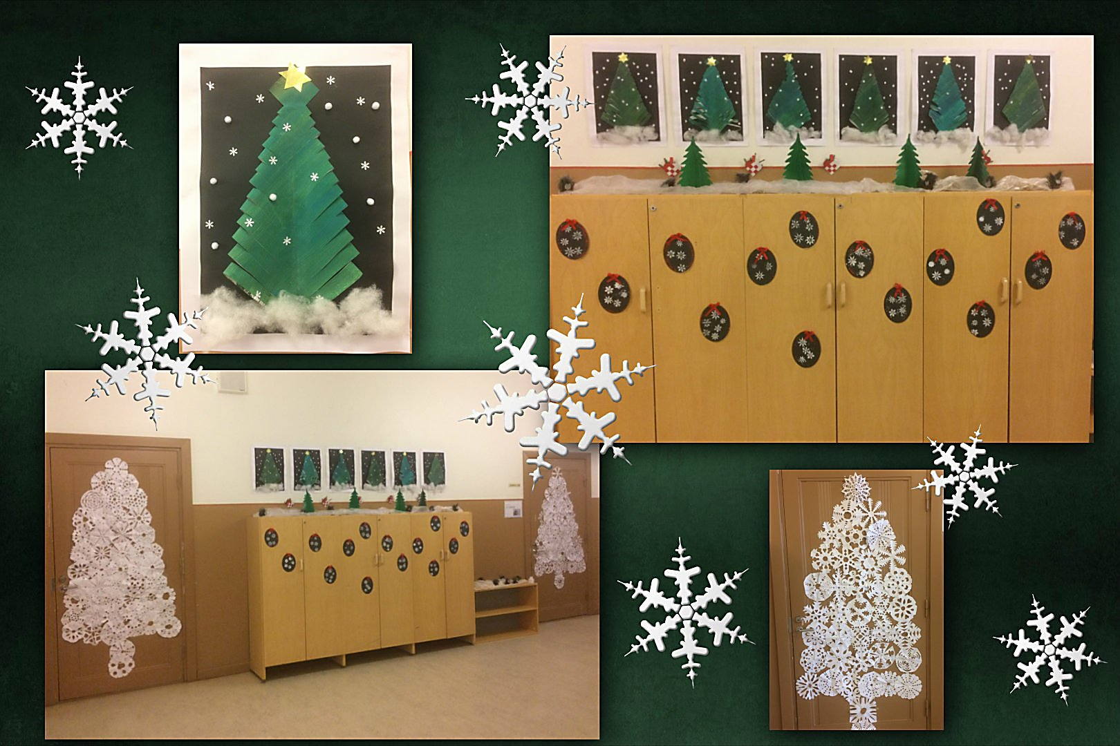 the halls at school outside the english classes are all decked out in christmas splendour classroom doors on the second floor are covered with lacy
